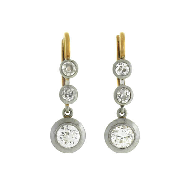 Edwardian 18kt/Platinum Mine Cut Diamond Earrings 1.50ctw