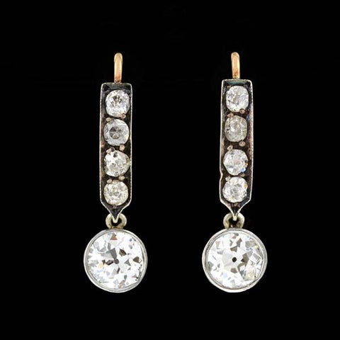 Edwardian Platinum/14kt Diamond Drop Earrings 2.60ctw