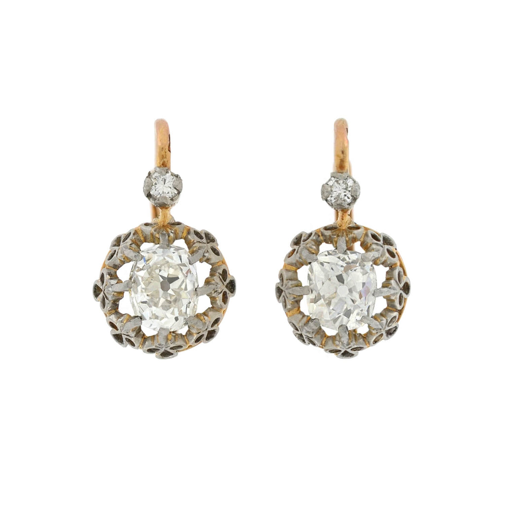 Edwardian French 18kt/Platinum Diamond Earrings 1.50ctw