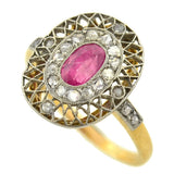 Edwardian Platinum Topped 18kt Ruby & Diamond Ring