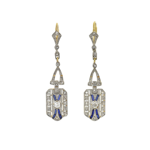 Edwardian 14kt/Platinum Diamond Sapphire Filigree Earrings
