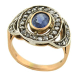 Edwardian 12kt/Sterling Sapphire Rose Cut Diamond Ring