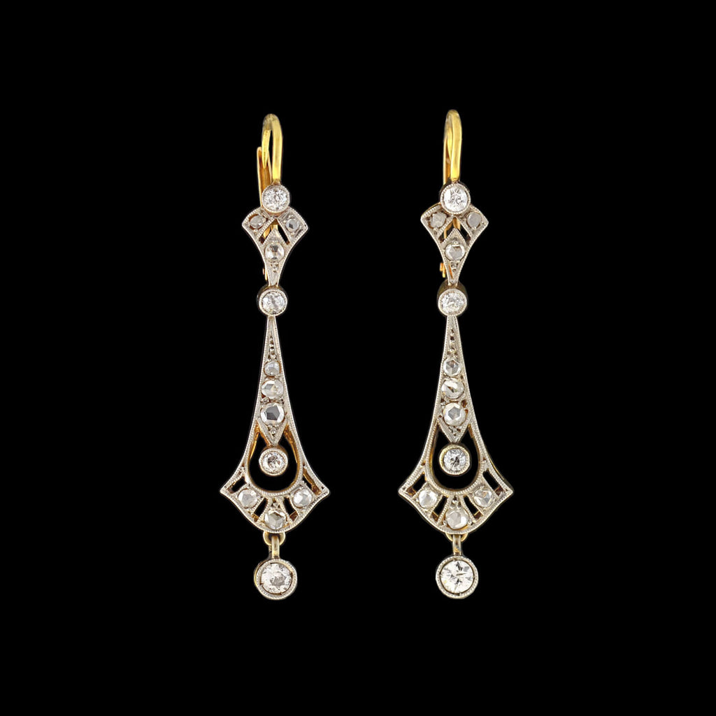 Edwardian 14kt/Platinum Diamond Filigree Earrings 0.65ctw