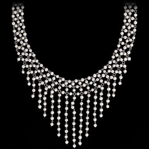 "Art Deco Sterling Silver & Crystal Necklace 61"" length"