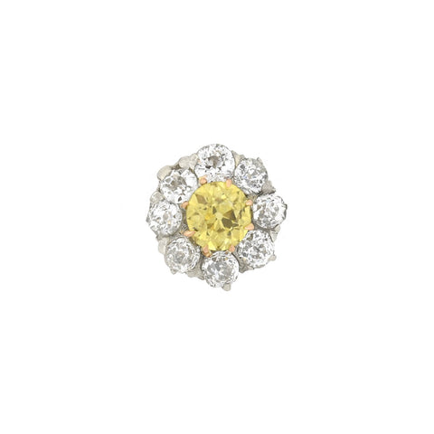 Edwardian Petite 14kt/Platinum Natural Yellow Diamond Cluster Pendant Necklace 0.65ctw