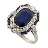Edwardian Platinum Sapphire & Diamond Ring 3.30ct