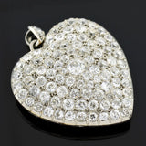 Edwardian Large Platinum Pave Diamond Heart Locket Pendant 10.00ctw