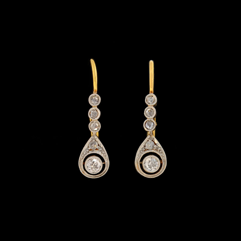 Edwardian Petite 18kt/Platinum Diamond Teardrop Earrings 0.35ctw
