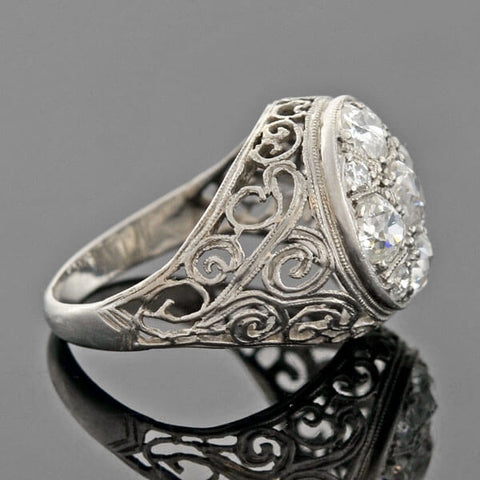 Edwardian Platinum Mine Cut Diamond Cluster Filigree Ring 1.90ctw