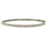 Edwardian Platinum Mine Cut Diamond Bangle Bracelet 5ctw
