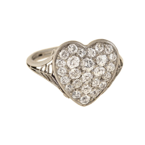 Edwardian Platinum/18kt Pavé Diamond Heart Ring 1.25ctw