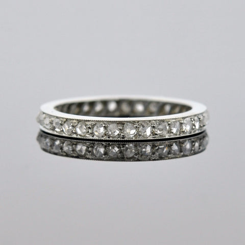 Edwardian Platinum Old Rose Cut Diamond Eternity Band 0.60ctw