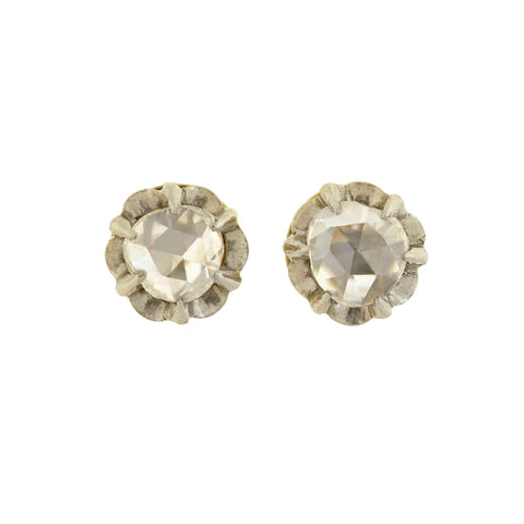 Edwardian Platinum/18kt Rose Cut Diamond Stud Earrings 0.70ctw