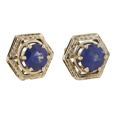 Edwardian 14kt Sapphire Stud Earrings 1.00ctw