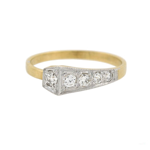 Edwardian Style 14kt Diamond Square Head Nail Ring