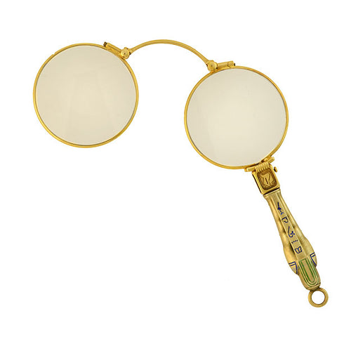 Art Deco 14kt Enameled Egyptian Revival Lorgnette Pendant