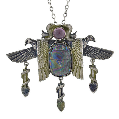 Art Nouveau French Egyptian Revival Scarab & Eagle Necklace