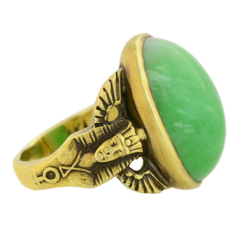 "Art Deco Egyptian Revival 14kt Gold Jade ""Pharaoh Motif"" Ring"