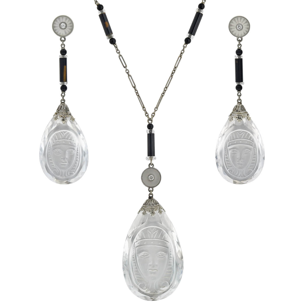 Art Deco Egyptian Revival Rock Crystal, Onyx + Diamond Necklace and Earring Set