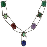 Art Deco Egyptian Revival Silver & Multi Stone Scarab Necklace
