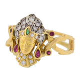 Art Deco 18kt Diamond, Emerald & Ruby Egyptian Revival Ring