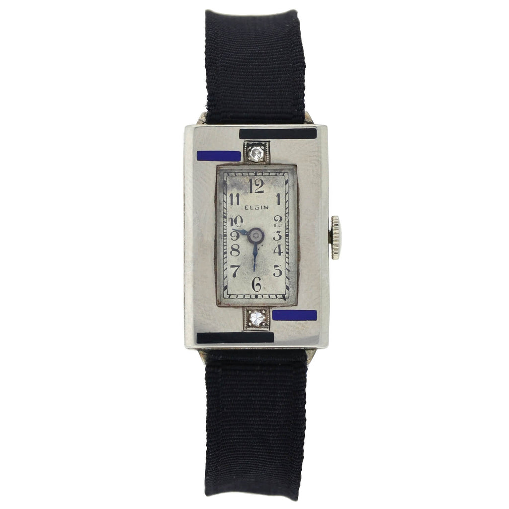 ELGIN Art Deco 14kt Diamond + Enamel Ladies Watch