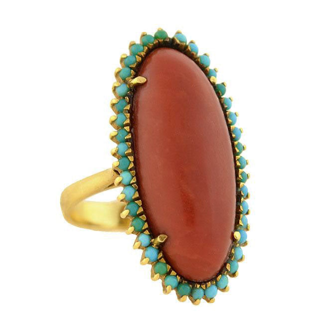 Victorian Large 18kt Oxblood Coral Turquoise Ring