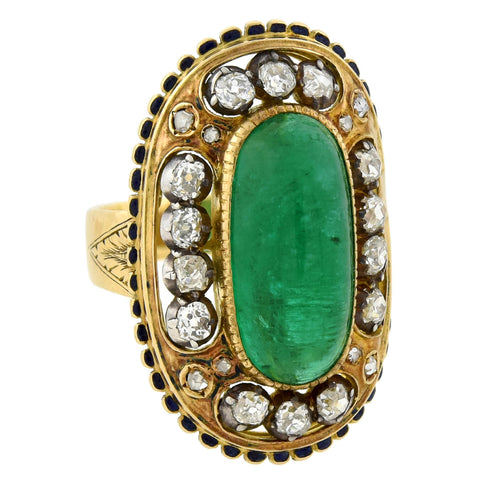 Art Nouveau 18kt/Sterling Large Enameled 6.50ct Emerald + Diamond Ring