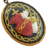Early Victorian Embroidered Sacred & Immaculate Hearts of Jesus & Mary Necklace