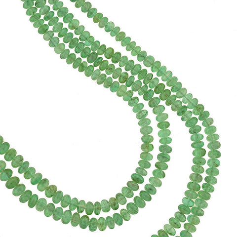 Estate 14kt Emerald Bead Double Strand Necklace