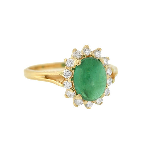 Vintage 14kt Emerald Cabochon & Diamond Ring 1.50ct