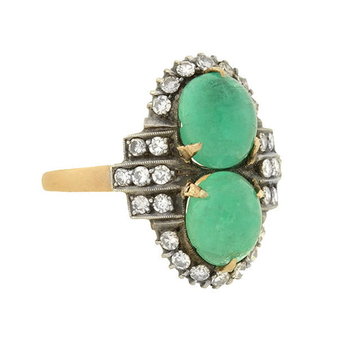 Retro Sterling Topped 14kt Diamond & Emerald Ring