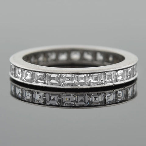 Art Deco Platinum Old Emerald Cut Diamond Eternity Band 2.25ctw