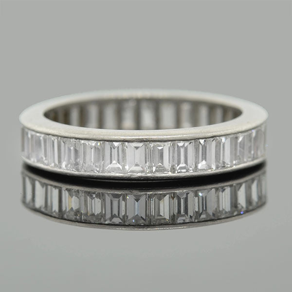 Art Deco Platinum Baguette Diamond Eternity Band 3.07ctw
