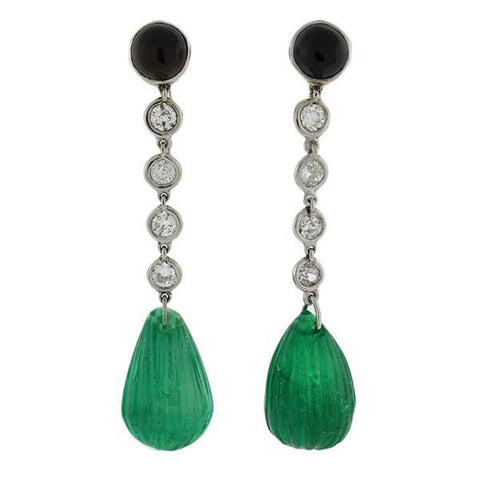Art Deco Platinum Emerald, Diamond & Onyx Drop Earrings