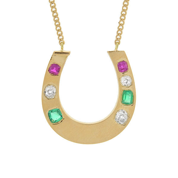 Late Victorian 14kt Gemstone Horseshoe Necklace