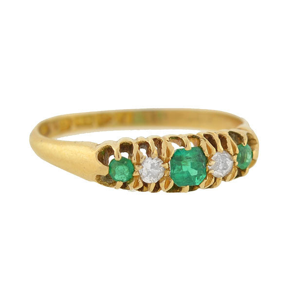 Victorian English 18kt Emerald & Diamond 5-Stone Ring