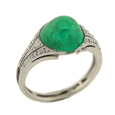 Art Deco Platinum Cabochon Natural Emerald Diamond Ring 2.80ct
