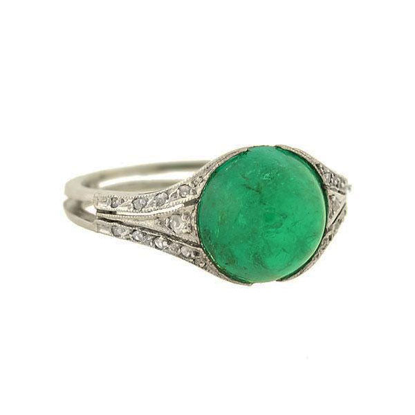 Art Deco Platinum Natural Emerald Cabochon + Diamond Ring 2.80ct