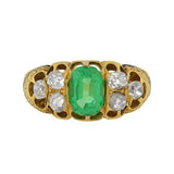 Victorian 18kt Emerald Diamond Tracery Ring