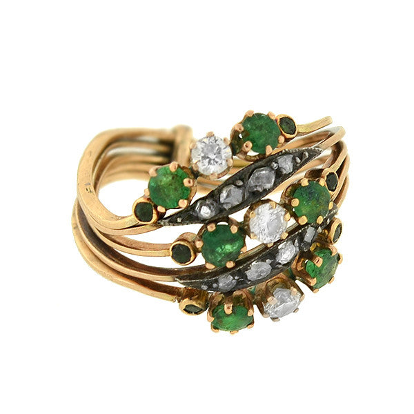 Late Victorian 14kt Emerald & Diamond Curvy Harem Ring