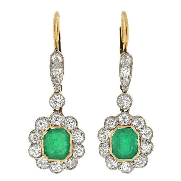 Edwardian 14kt/Platinum Emerald & Diamond Earrings 1.30ctw