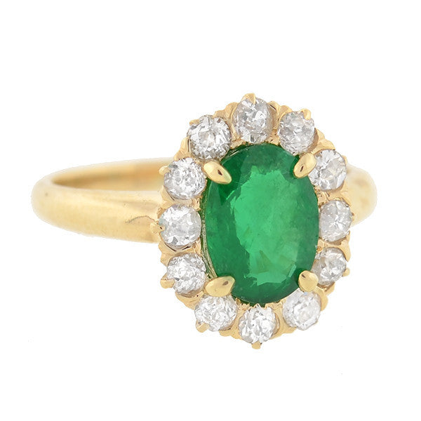 Victorian 14kt Emerald & Diamond Ring 1.08ct center