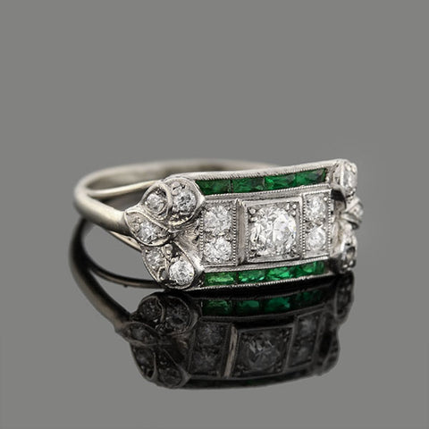 Art Deco Platinum Diamond French Cut Emerald Ring 0.20ct Center
