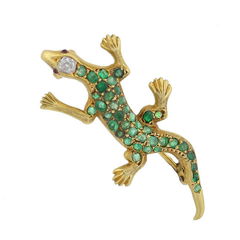 Victorian 18kt Emerald & Diamond Lizard Pin