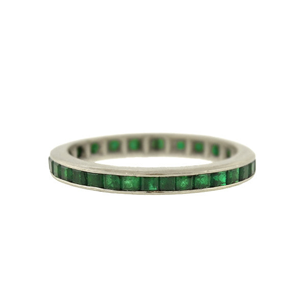 Art Deco 18kt Emerald Eternity Band
