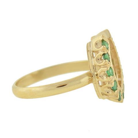 Estate 14kt Gold & Emerald Horseshoe Ring