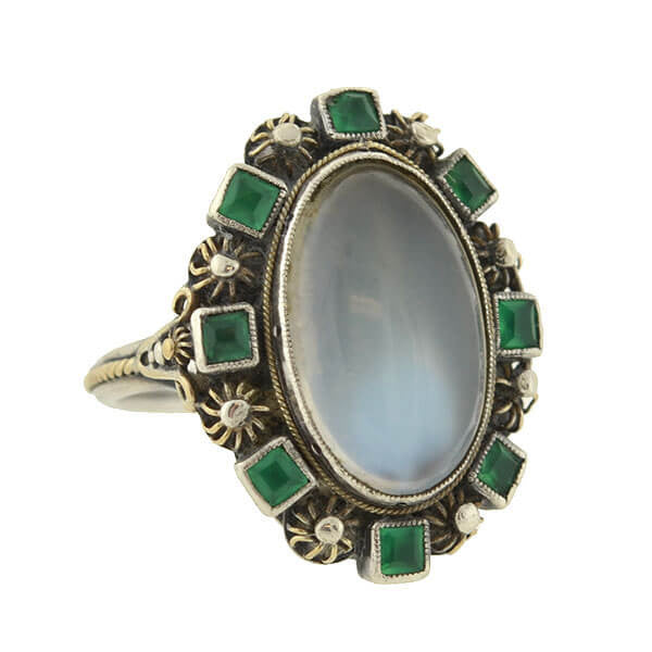 Arts & Crafts Sterling/14kt Moonstone & Emerald Ring