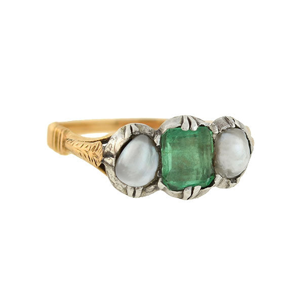 Early Victorian 18kt/Sterling Emerald Pearl Ring