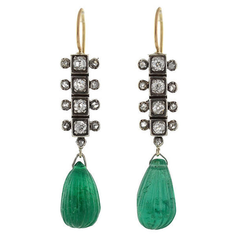 Victorian 14kt/Sterling Emerald & Diamond Earrings 4.00ctw